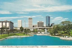 View of City Skyline, Reflecting Ponds and Fountains, Charlotte, North Caroli...