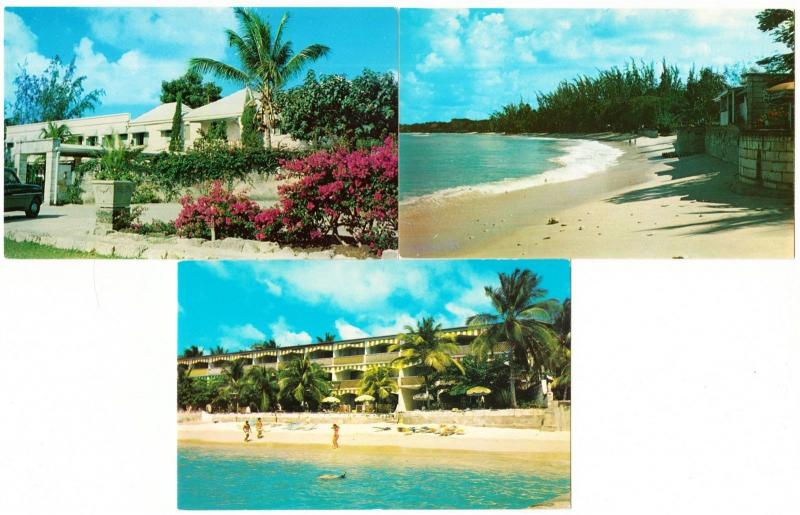 Barbados Miramar Club Beach Hotel St. James Lot of 3 Postcards 1950s-1970s