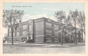 Sparta Wisconsin~New High School~Bluesky Postcard 1920s