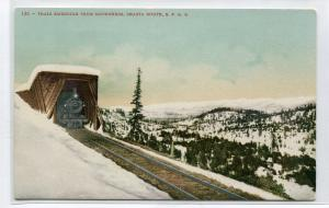 Train Snow Shed Southern Pacific Railroad Shasta Route California 1910c postcard