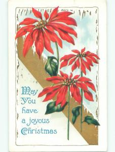 Pre-Linen christmas ICICLES HANGING OVER POINSETTIA FLOWERS J1506
