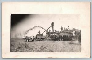 Real Photo Postcard~Farming~Farmers Threshing Grain~Thresher~Horse Blankets~1912