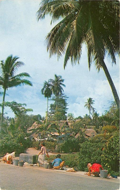 Singapore~Malay Kampong~Women @ Work~Village Bknd~'50s Malayan Color Views Co Pc