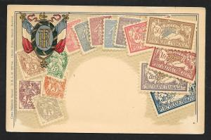 FRANCE Stamps on Postcard Embossed Shield Unused c1905