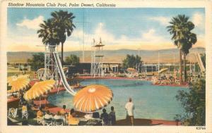 California Palm Desert 1940s Swimming Pool Shadow Mountain Club Postcard 12409