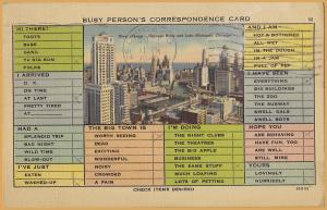 Busy Person's Correspondence Card, View of Loop, Chicago, ILL., 1940