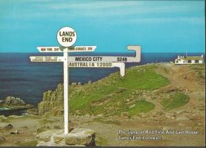 Postcard LANDS END Signpost First & Last House Cornwall By Murray King No.MK112