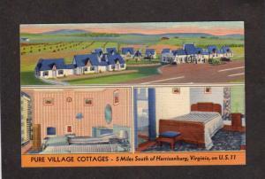 VA Pure Village Cottages Harrisonburg Virginia Linen Postcard