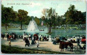 Cleveland, Ohio Postcard BROOKSIDE PARK Lake / Fountain Scene c1910s