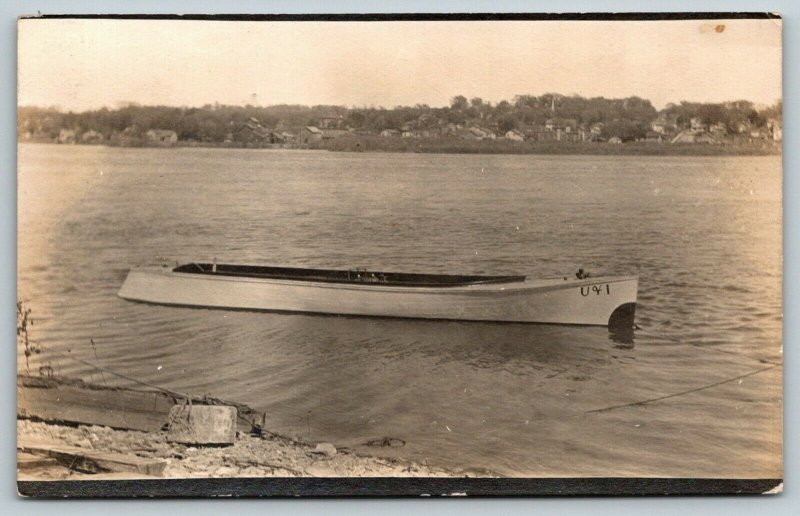 LeClaire Iowa~Little Rowboat~Big Mississippi River~Gert Has Wild Ducks~RPPC 1913