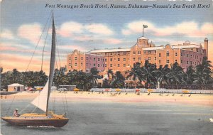 Fort Montague Beach Hotel Nassau, Bahamas Virgin Islands 1955 Missing Stamp