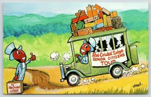 West Dover VT~Red Jiiminy Cricket Lodge~Cartoon Character~Tour Bus~WNAC Boston