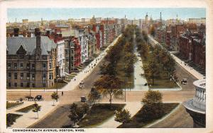Commonwealth Avenue, Boston, Massachusetts,  Early Postcard, Used in 1921