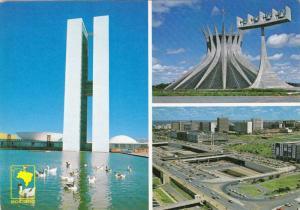 3-Views, Lake Of National Congress Palace, Cathedral, & Bus Station' Platform...