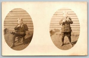 RPPC Boy w/World's Smallest Violin Playing My Heart Bleeds For You~RPPC c1910