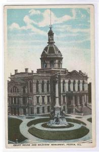 Court House Soldiers Monument Peoria Illinois 1920 postcard