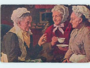 Pre-Linen OLD WOMEN DRINKING TEA AT GATHERING HL6362