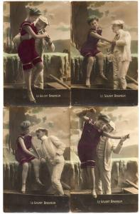 Group of 6 Man and Woman Romance Bathing Beauty Real Photo Antique PCs J45230