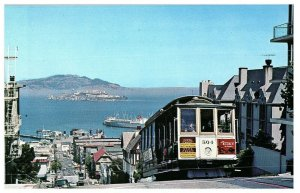 Cable Car Hyde Street San Francisco Old Cars Alcatraz California Postcard 1960s