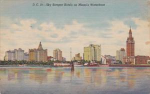 Florida Miami Skyscraper Hotels Along The Waterfront Curteich