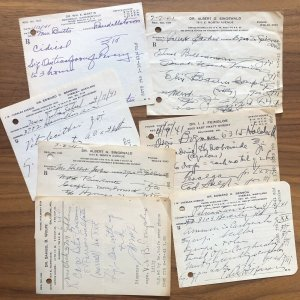 Lot of 7 - Vintage 1940's Written And Signed Medical Perscriptions - MARYLAND MD