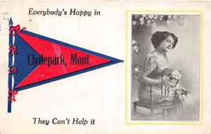 D78/ Clydepark Montana Mt Pennant Postcard 1913 Everybody's Happy