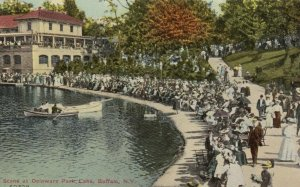 BUFFALO , New York , 1900-10s; Scene at Delaware Park Lake