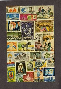 Stamps of the World Worldwide Stamps Images on Postcard Poland New Zealand Etc.