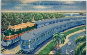 Seaboard Air Line Railway Postcard Silver Meteor Trains Florida Oranges linen