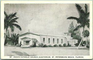 St. Petersburg Beach, Florida Postcard St. John's Catholic Church Auditorium