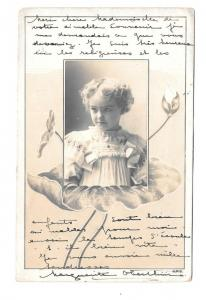 Greetings -  Young Girl within flowers-undivided card c1904 #9002