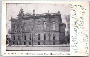 1913 Lisbon, Ohio Postcard COLUMBIANA COUNTY COURT HOUSE Street View B.P. Co.