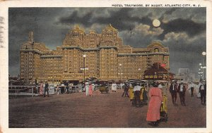 Hotel Traymore at Night, Atlantic City, Early Postcard, Used in 1922