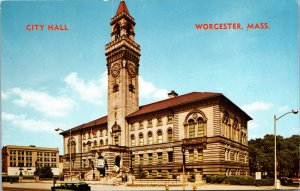 Worcester MA City Hall Postcard unused 1964