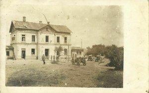 ukraine russia, DENYSIV DENISOV, Railway Station, German Soldiers (1917) RPPC