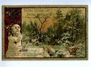202816 Winter Hunt Deer SNOWMAN Vintage EMBOSSED NEW YEAR PC