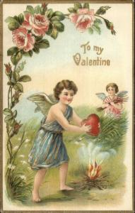 Valentine - Cupid Cherub w/ Heart Over Fire Rose Border ASB 251 Postcard