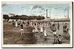 Old Postcard Saint Nazaire The Beach has the & # 39heure bath