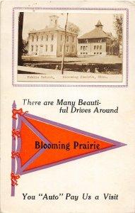 G34/ Blooming Prairie Minnesota RPPC Postcard c1910 Public School 25