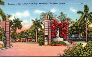 Florida Fort Myers MacGregor Boulevard Entrance To Edison Park