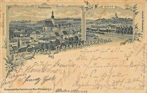 GRUSS aus FRANKENMARKT AUSTRIA~PANORAMA + BAHNHOF~KRL SCHWIDERNOCH 1899 POSTCARD