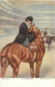 The Prize Winner horse & jockey postcard
