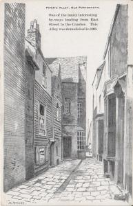 Piper's Alley, Old Portsmouth, England - Drawing - Unused