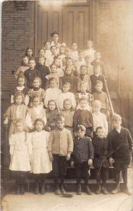 8968  RI Ashaway Grade School Children posing in front of school All named on...