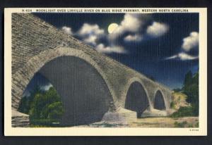 Western, N Carolina/NC Postcard, Moonlight On Linville River