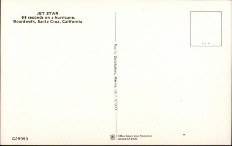 Roller Coaster JET STAR Santa Cruz CA Boardwalk Postcard