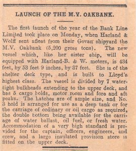 1926 Vintage Belfast Newspaper Clipping  LAUNCH OF THE M.V. OAKBANK, H&W GOVAN