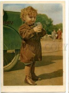 137458 SOVIET LIFE Boy w/ fizzy water old Russian PC