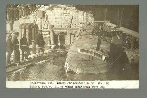 Sheboygan WISCONSIN RP1911 TROLLEY ACCIDENT Street Car Streetcar DEATHS Drowning