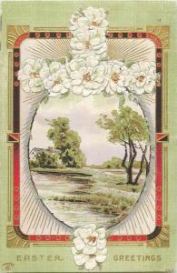 Easter greetings embossed fantasy floral cross landscape egg 1910s postcard